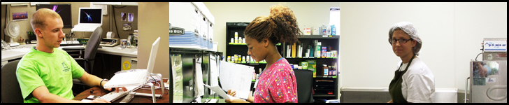 image of individuals working in the On-the-Job Training program, left to right man is learning new computer skills, center image, lady is learning the job of a Pharmacy Technician, and image on right displays a lady learning about the culinary arts